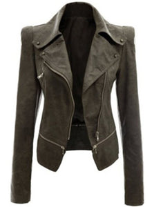 Women's Fashion Long Sleeve PU Zip Motorcycle Jacket