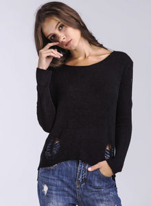 Women's Solid Round Neck Hollow out Long Sleeve Pullover Sweater