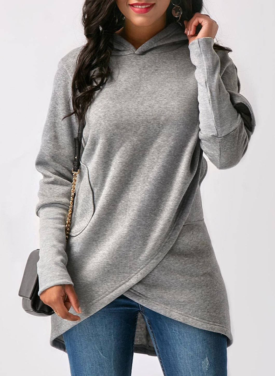 Women's Fashion Long Sleeve Solid Color Asymmetric Design Hoodie