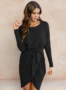 Women's Long Sleeve Irregular Dress with Belt