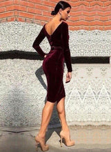 Load image into Gallery viewer, Women's Long Sleeve Bodycon Velvet Party Dress
