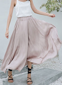 Women's Fashion Solid High Waist Loose Fit Wide Leg Pants