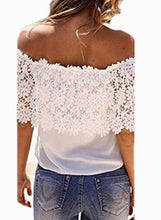 Load image into Gallery viewer, Women's Fashion Off Shoulder Lace Tee