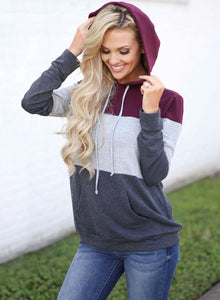 Women's Casual Long Sleeve Color Block Pullover Hoodie