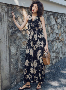 Women's V Neck Sleeveless Backless Floral Maxi Dress
