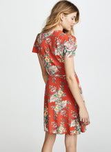 Load image into Gallery viewer, Fashion Floral Printed Lace-up Short Sleeve V Neck A-line Women Midi Dress