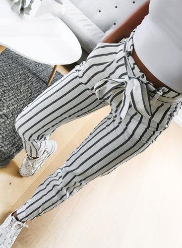 Fashion Casual Sweet Striped Waist Tie Pencil Pants With Pockets