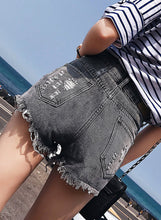 Load image into Gallery viewer, Women's Retro Wash High Waisted Ripped Denim Shorts With Pockets