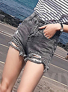 Women's Retro Wash High Waisted Ripped Denim Shorts With Pockets