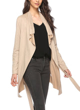 Load image into Gallery viewer, Khaki Open Front Turn -Down Collar Long Sleeve Waist Tie Loose Coat