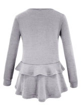 Load image into Gallery viewer, Grey Long Sleeve Round Neck Ruffle Hem Loose Solid Color Knitwear
