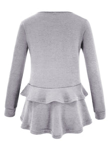 Grey Long Sleeve Round Neck Ruffle Hem Loose Solid Color Knitwear
