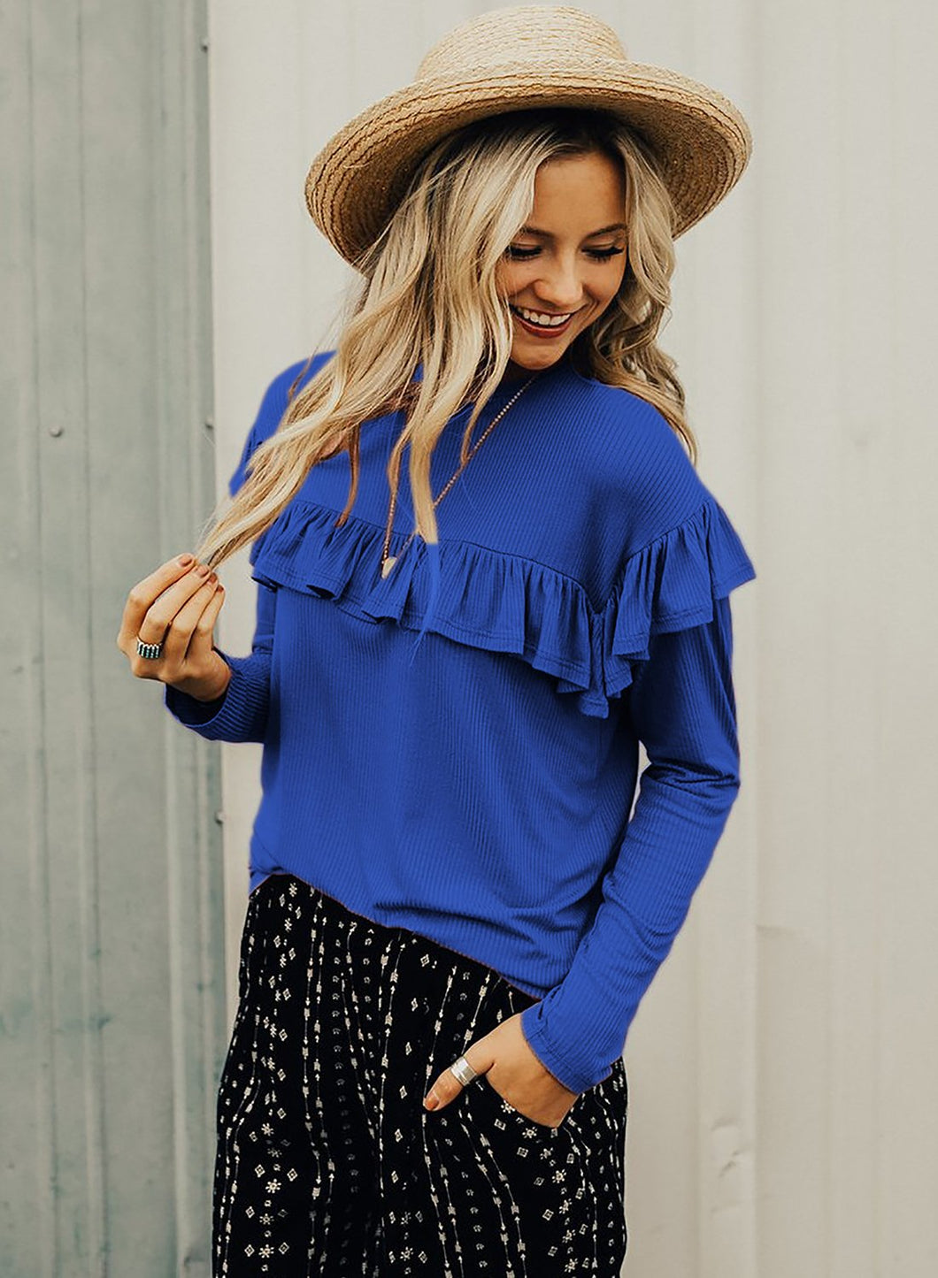 Blue Women's Round Neck Long Sleeve Slim Solid Color Ruffle Pullover Tee