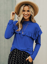 Load image into Gallery viewer, Blue Women's Round Neck Long Sleeve Slim Solid Color Ruffle Pullover Tee