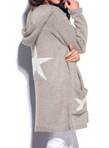 Casual Long Sleeve Star Pattern Open Front Hooded Chunky Cardigan