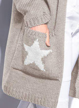 Load image into Gallery viewer, Casual Long Sleeve Star Pattern Open Front Hooded Chunky Cardigan