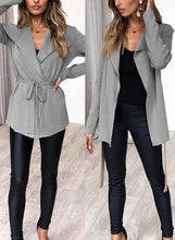 Load image into Gallery viewer, Turn-Down Collar Long Sleeve Solid Color Cardigan Waist Tie Coat