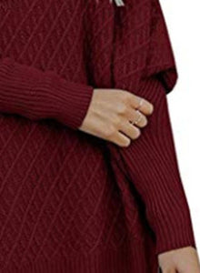 Round Neck Long Sleeve Loose Side Zip Hollow Out Solid Color Sweater