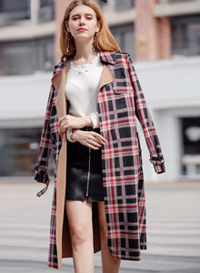 Women's Outwear Classic Red Plaid Suede Trench Coats