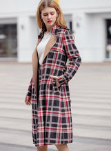 Load image into Gallery viewer, Women's Outwear Classic Red Plaid Suede Trench Coats