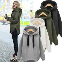 Load image into Gallery viewer, Loose Drawstring Plush Long Sleeve Hoodie