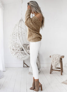 Women's Fashion off Shoulder Long Sleeve Loose Fit Knit Sweater