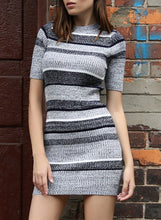 Load image into Gallery viewer, Women Knitted Mini Dress Color Contrast Striped Bodycon Knit Dress Autumn Winter
