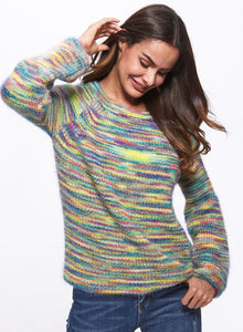 Women's Cashmere Sweater Round Neck Colorful Loose Knitted Sweater