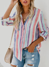 Load image into Gallery viewer, Multi Casual Striped Turn-Down Collar Long Sleeve Loose Button Down Shirt