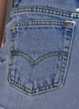 Load image into Gallery viewer, Blue Faded Ripped Raw Hemline Denim Short