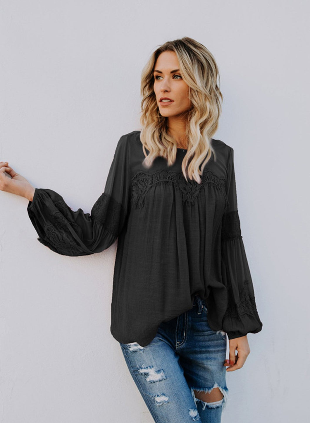 Plain Color Round Collar See-through Lantern Sleeve Casual  T-shirt
