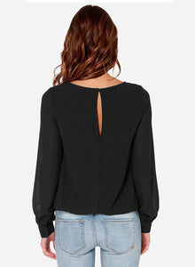 Women's Fashion Solid Slit Long Sleeve Pullover Blouse