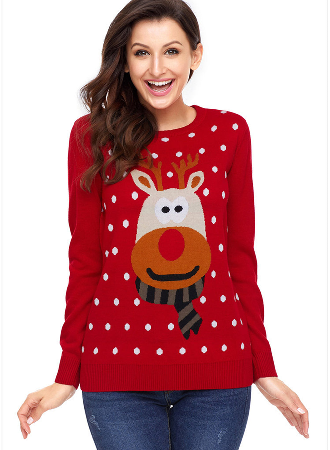 New Fashion Round Neck Long Sleeve Women Christmas Sweater
