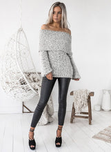 Load image into Gallery viewer, Women's Fashion off Shoulder Long Sleeve Loose Fit Knit Sweater