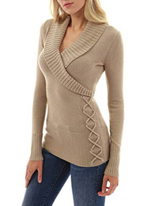 Women Shawl Collar Faux Wrap Lace Up Sweater