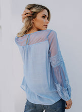 Load image into Gallery viewer, Plain Color Round Collar See-through Lantern Sleeve Casual  T-shirt