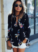Load image into Gallery viewer, Fashion Casual Loose Floral Printed Long Sleeve V Neck Women Blouse