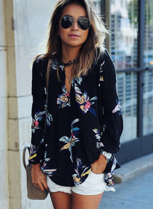 Fashion Casual Loose Floral Printed Long Sleeve V Neck Women Blouse