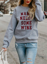 Load image into Gallery viewer, Grey Letters Print Round Neck Long Sleeve Loose Pullover Sweatshirt