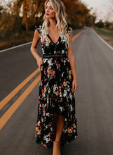 Load image into Gallery viewer, Irregular Floral Printed Sleeveless V Neck Women Swallowtail Maxi Dress