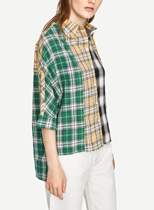 Multi Turn-Down Collar Long Sleeve High Low Loose Plaid Button Down Shirt