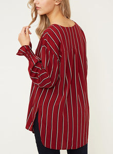 Red Chiffon Striped V Neck Long Sleeve High Low Loose Button Down Shirt