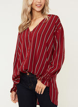 Load image into Gallery viewer, Red Chiffon Striped V Neck Long Sleeve High Low Loose Button Down Shirt