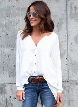 Load image into Gallery viewer, Fashion V Neck Button down Chiffon Shirt