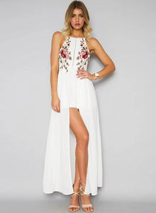 Women's Halter Backless Floral Embroidery Dress
