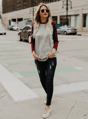 Round Neck Plaid Sleeve Color Block Knit Tee Shirt