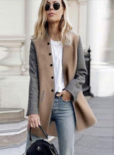 Load image into Gallery viewer, Women's Single Breasted Color Block Coat