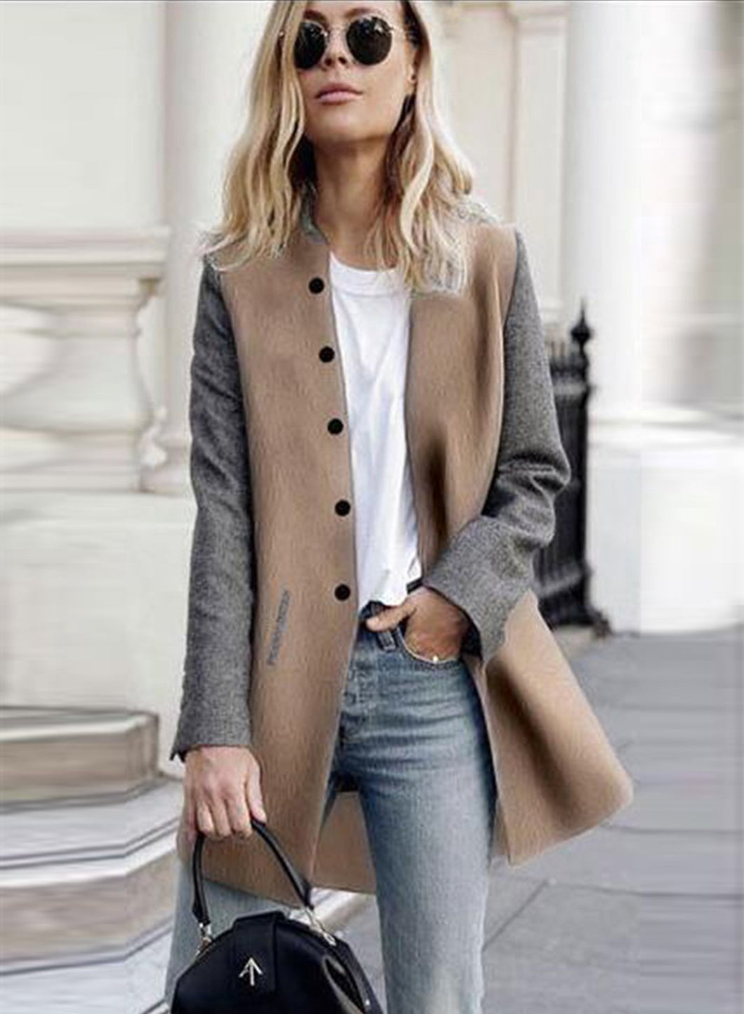 Women's Single Breasted Color Block Coat