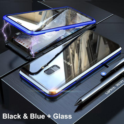 Upgraded Two Side Tempered Glass Magnetic Adsorption Phone Case for Samsung S9 S9 Plus A70 A60 A50 A7 A8 A9(2018)