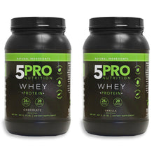 Load image into Gallery viewer, 5PRO NATURAL WHEY 2PACK (1 CHOCOLATE & 1 VANILLA)